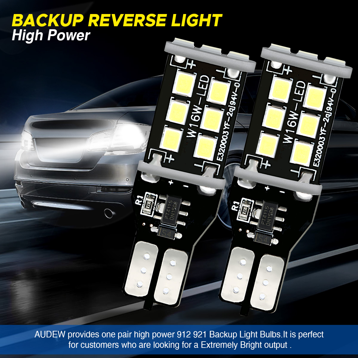 Audew T15 906 W16W Car LED Backup Reverse Lights Bulbs Error Free 7.2W 1200LM 6000K 2PCS