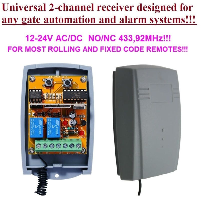 12-24V DC/AC Universal 2-Channel Receiver 433.92MHz Remote Rolling Fixed Code