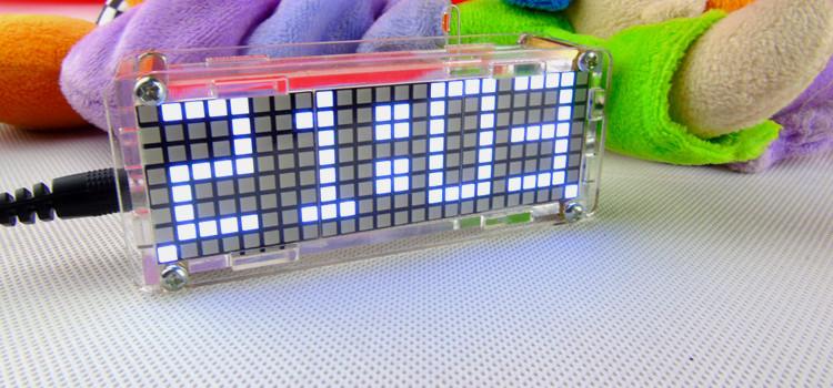 5V DIY Dot Matrix Digit LED Electronic Clock Kit Temperature 24 Hours Display