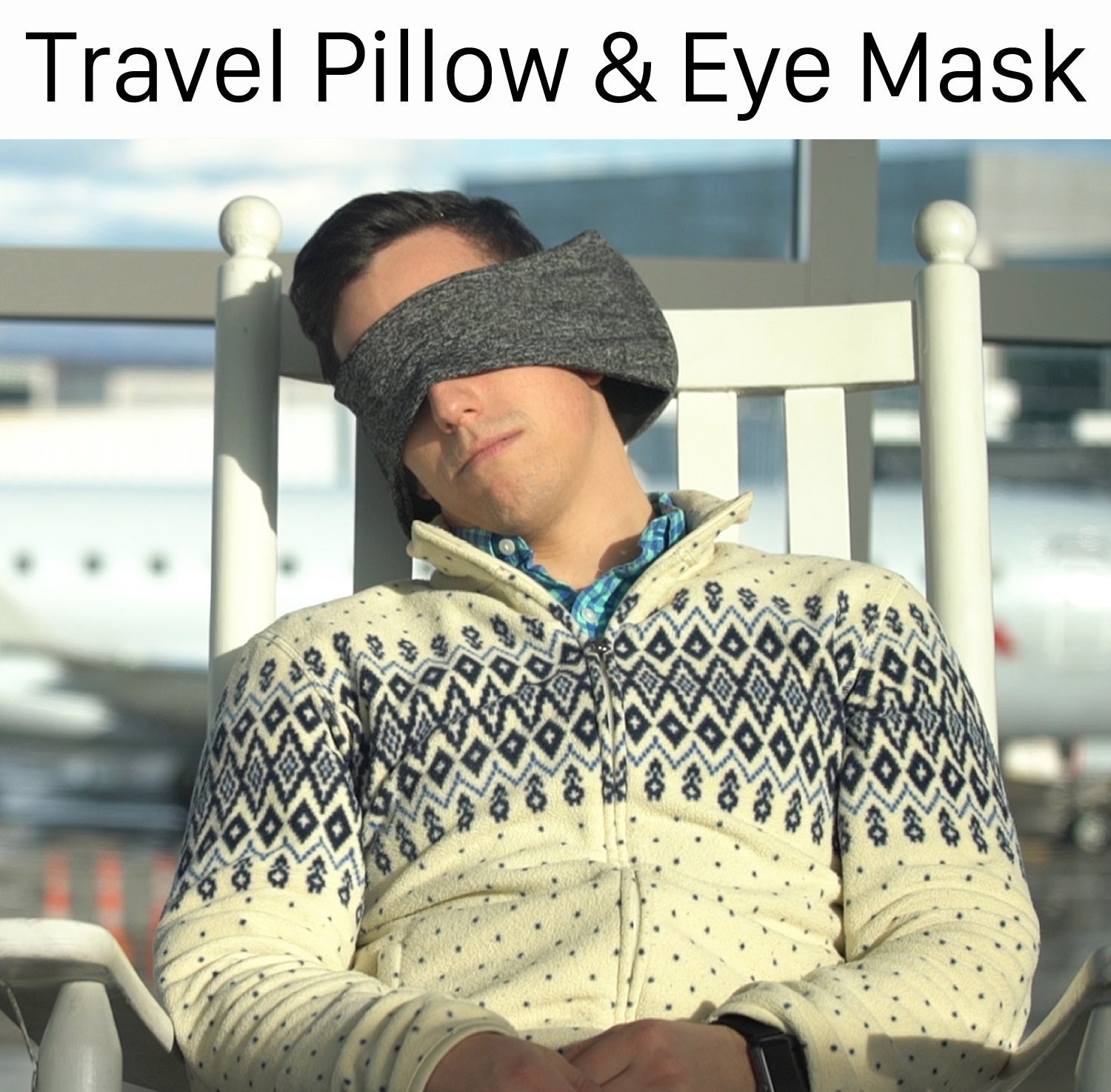 Goggles Neck Support Pillow Portable Travel Compact Pillow And Eye Mask 2 in 1-soft For Airplane Napping Trip Supplies Customized Sleep Positions