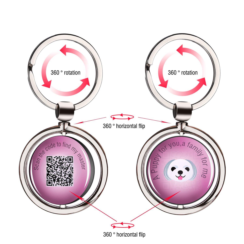 Stainless Steel Pet Anti Lost Key Chain ID Tag Tracker Intelligent QR Code Wireless Locator