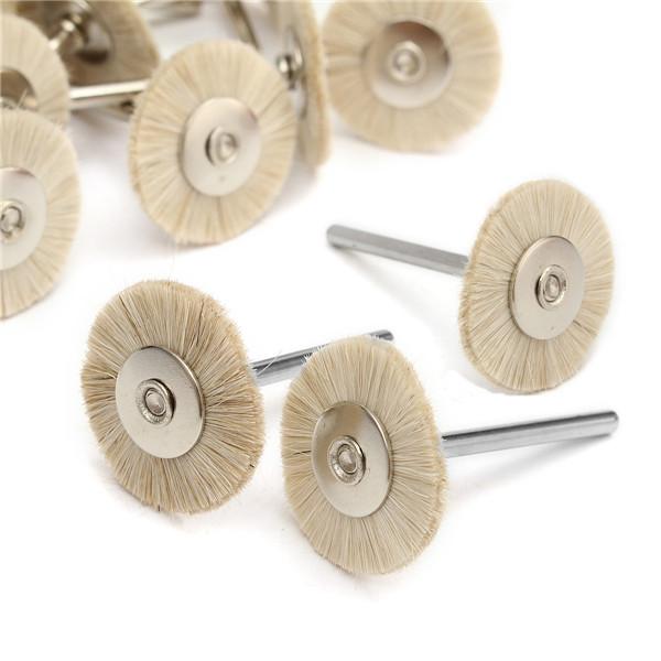 30pcs Soft White Goat Hair Polishing Wheel Brushes Set
