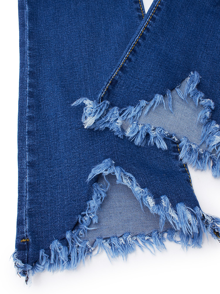 Casual Women Zipper Slim Ripped Tassel Flare Ninth Denim Jeans
