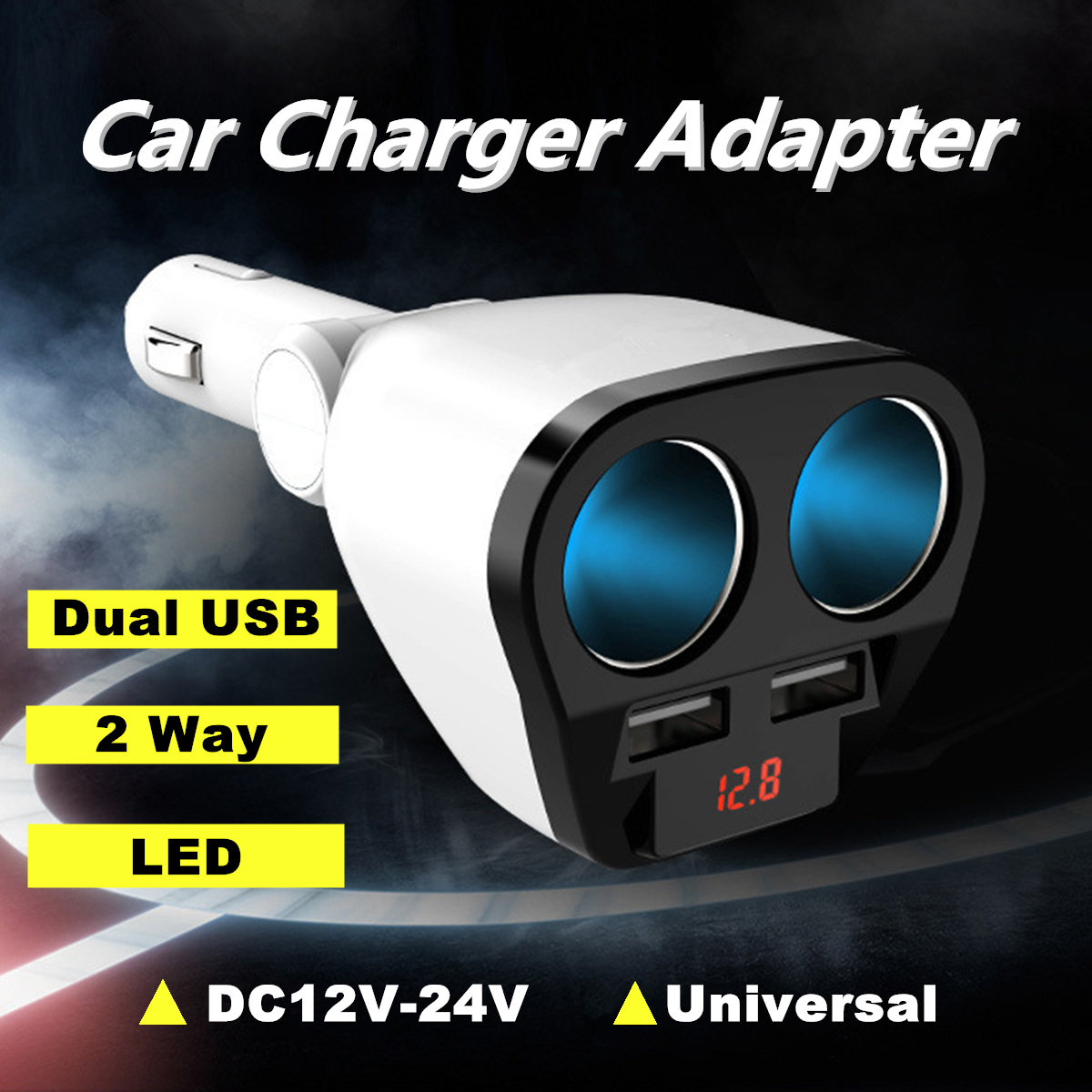 12V 2.4A Cigarette Lighter Dual USB 2 Way Car Socket Power Charger Adapter for Cell Phone