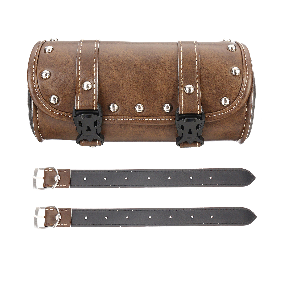 Leather Motorcycle Front Fork Tool bag For Harley/Softail/Sportster/Dyna Brown