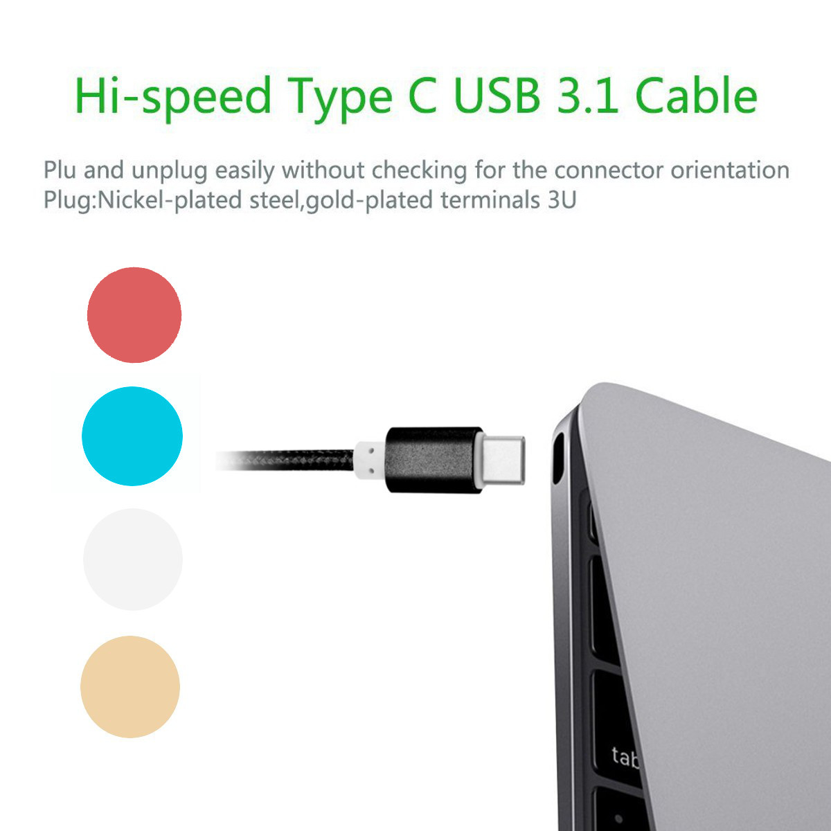 3A Fast Charging USB 3.1 Nylon Braided Type-c Cable For XIaomi 6 Redmi Note 2 Samusng GALAXY S8 Note