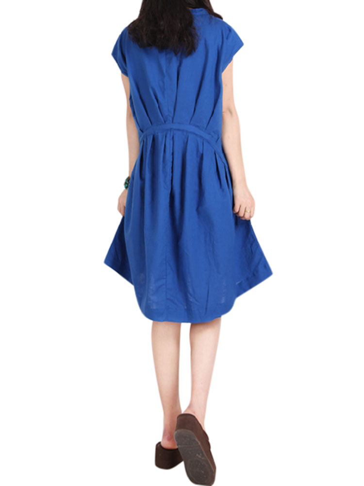 Women Loose A-Line Short Sleeve Ink Printing Cotton Linen O-neck Dress