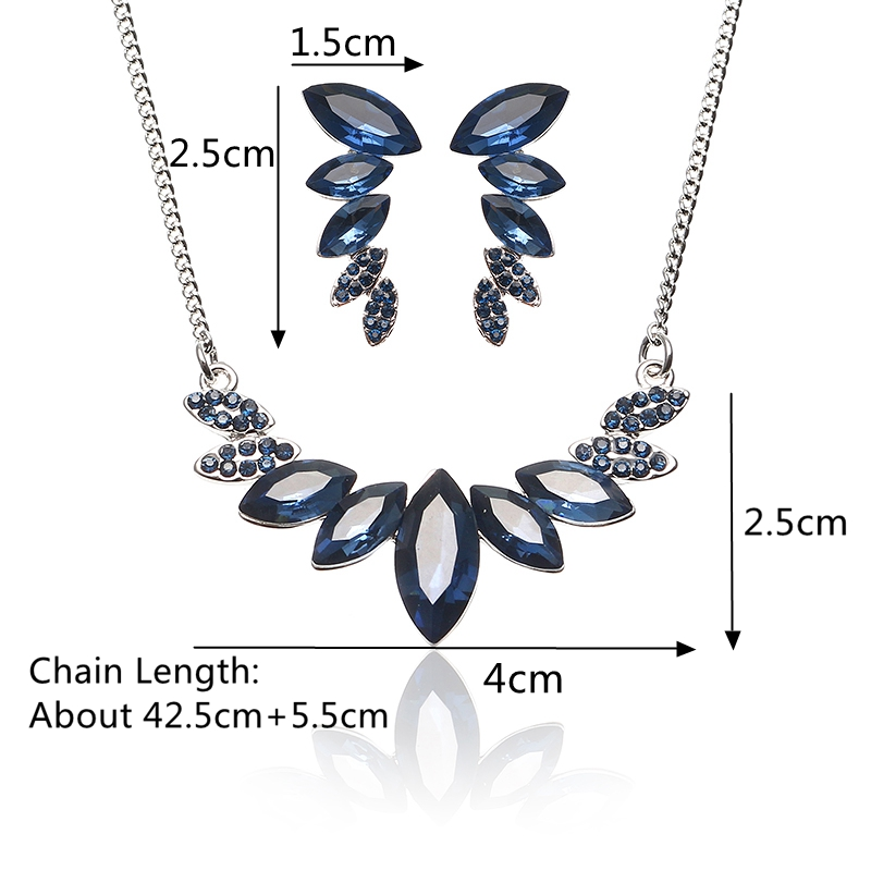JASSY® Elegant Platinum Plated Sapphire Mariquesa Crystal Jewelry Set Anallergic for Women