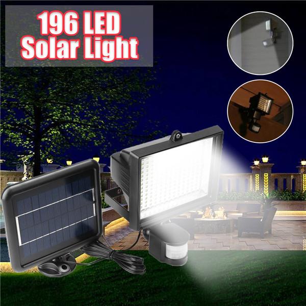 196 LED Solar Powered PIR Motion Sensor Wall Light Outdoor Garden Light Control Security Flood Lamp