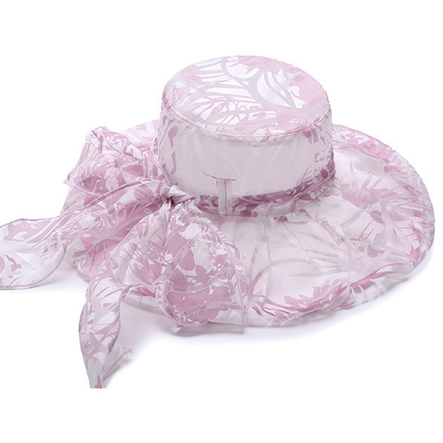 Ladies Printting Wide Brimmed Hat Packable Dress Bucket Hats