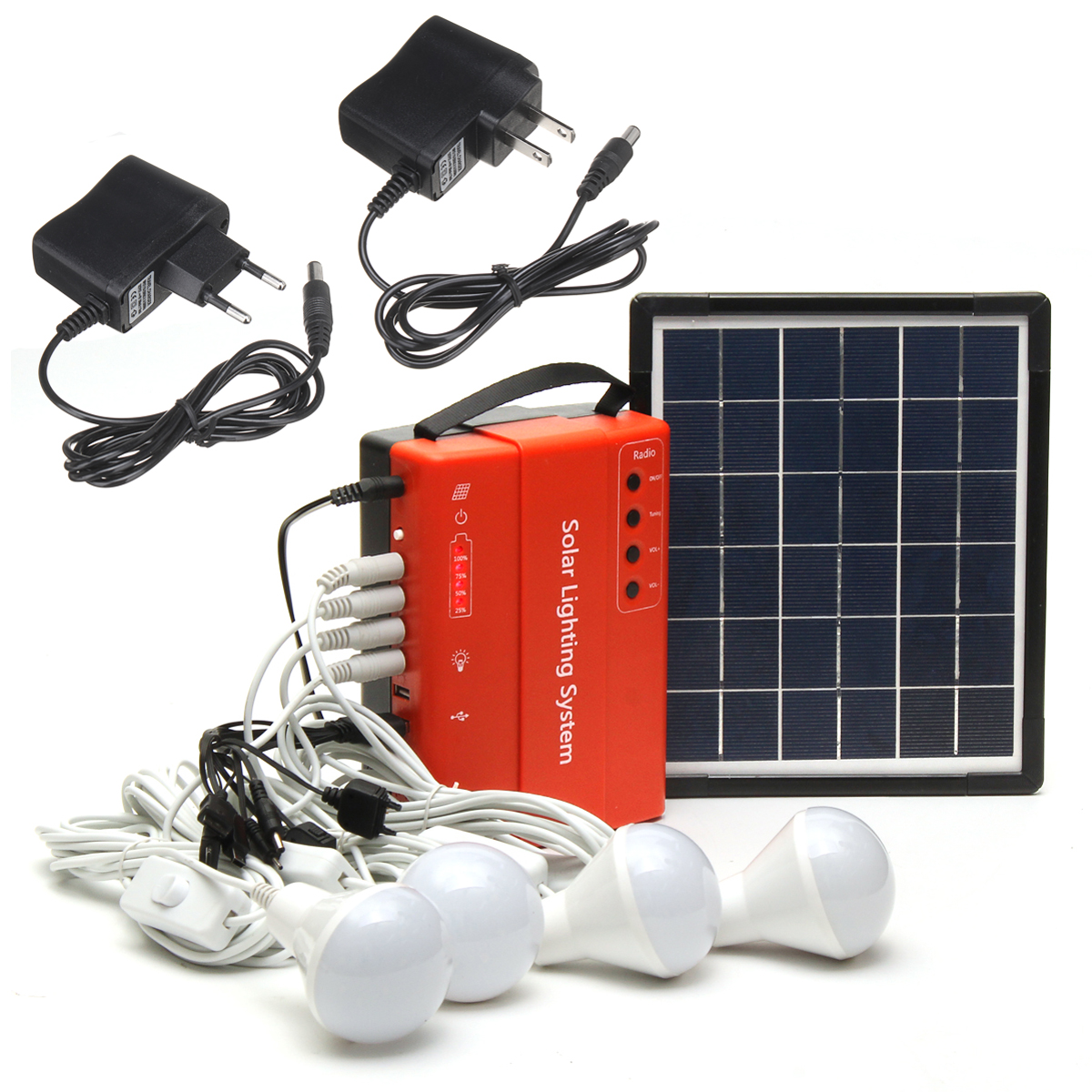 5W 9V Portable Solar Panel Power Storage Generator LED Light USB Charger Outdoor Emergency System