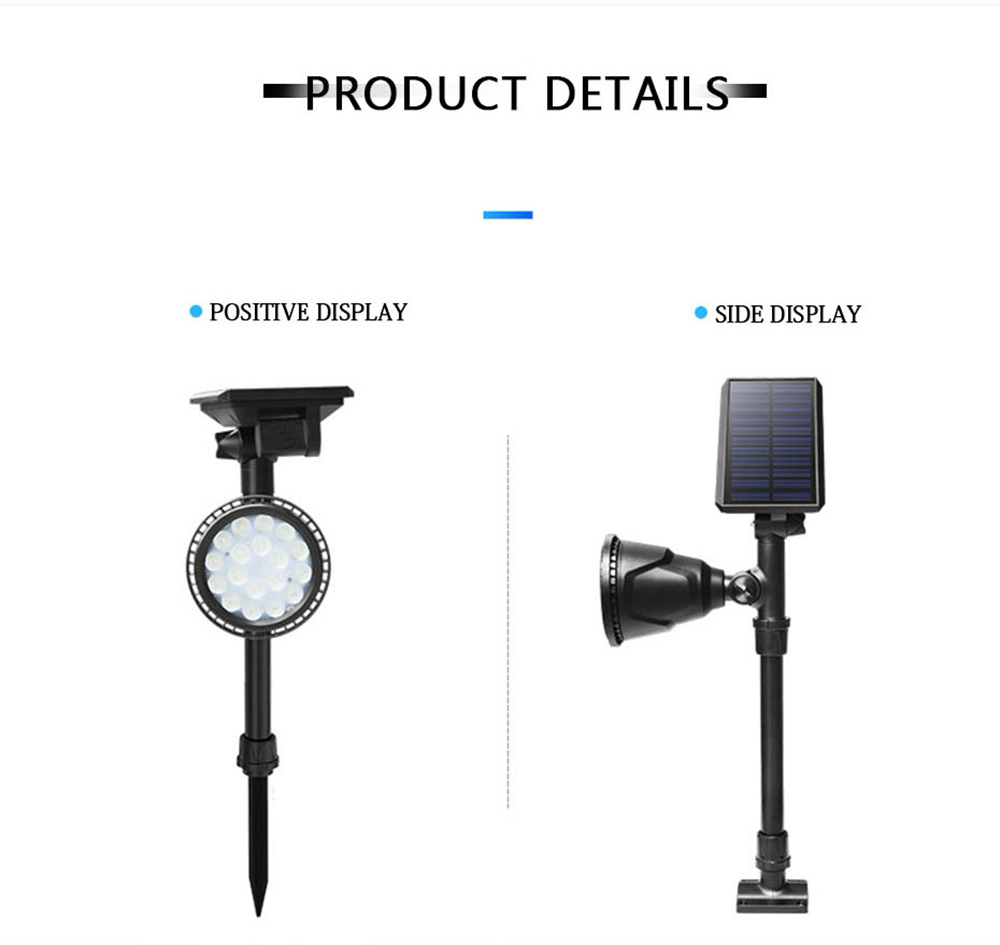 Solar 18 LED Light-controlled Sensor Spot Light Outdoor Garden Lawn Wall Waterproof Landscape Lamp