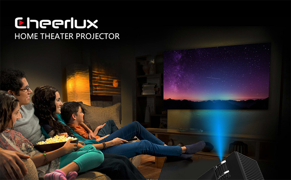 Cheerlux C7 LCD LED Mini Projector 1500 Lumens 800X480 Support HD 1080P Multimedia Theater