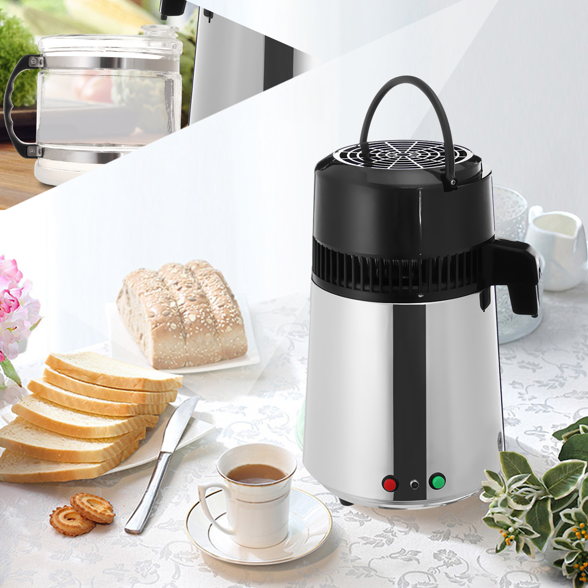 4L 750W Stainless Steel Pure Water Distiller Purifier Filter Machine With Carafe