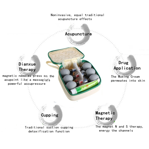 HACI 18 Cups Noninvasive Acupuncture Acupressure Ointment Magnetism Therapy Household Cupping Set