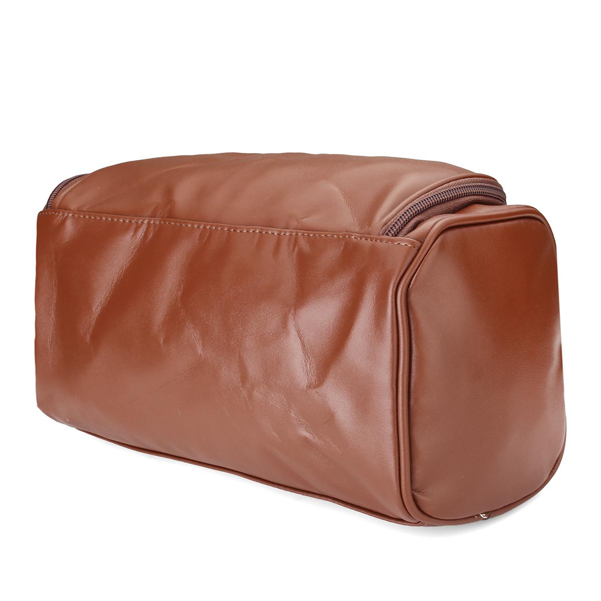 Leather Toiletry Bag Men Large Shaving Brush Cosmetic Travel