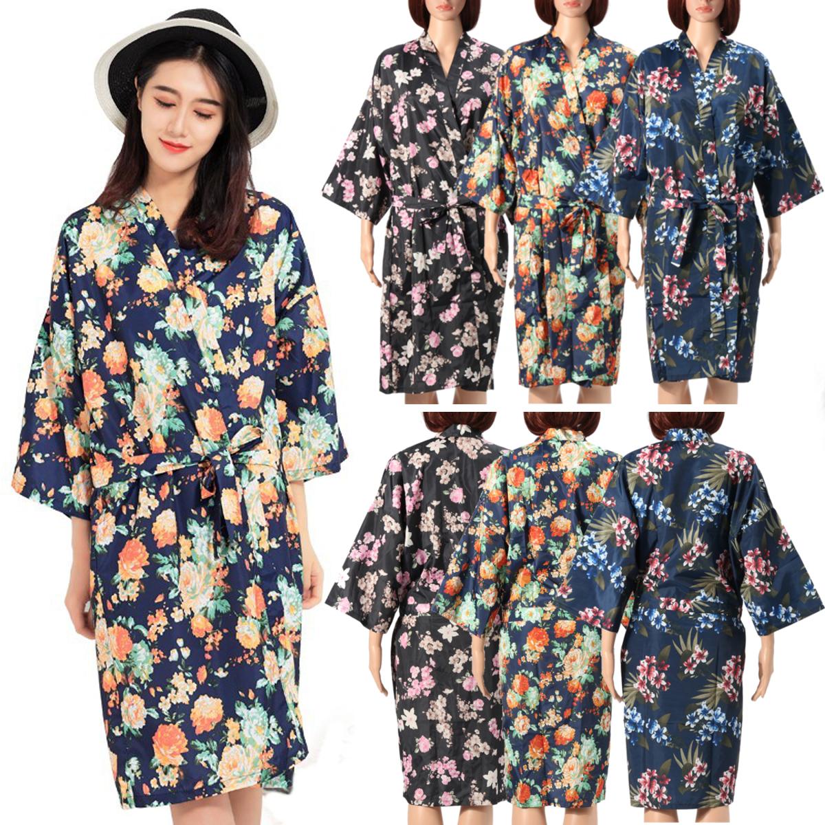 Silk Satin Kimono Robe Dressing Gown Wedding Bridesmaid SPA Sleepwear Bathrobe