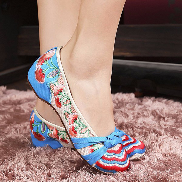 Women Flower Flat Shoes Ladies Cotton Comfortable Casual Slip On Soft Flat Loafers Shoes