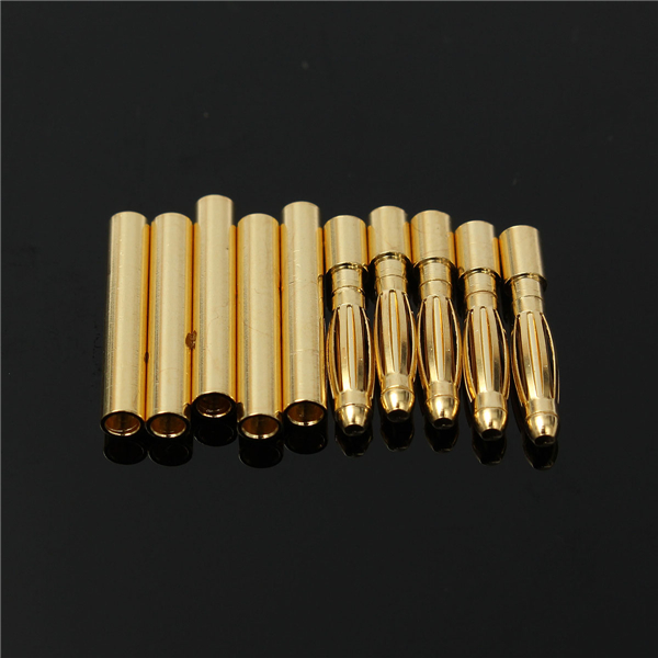5 Pair 2mm Gold Bullet Connectors Banana Plugs For RC Car/Drone Lipo Battery