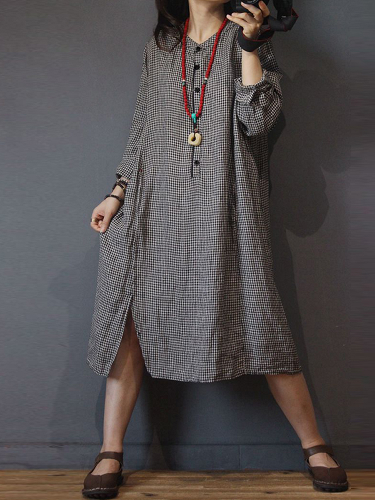 Women Long Sleeve Plaid Kaftan Loose Button Shirt Dress