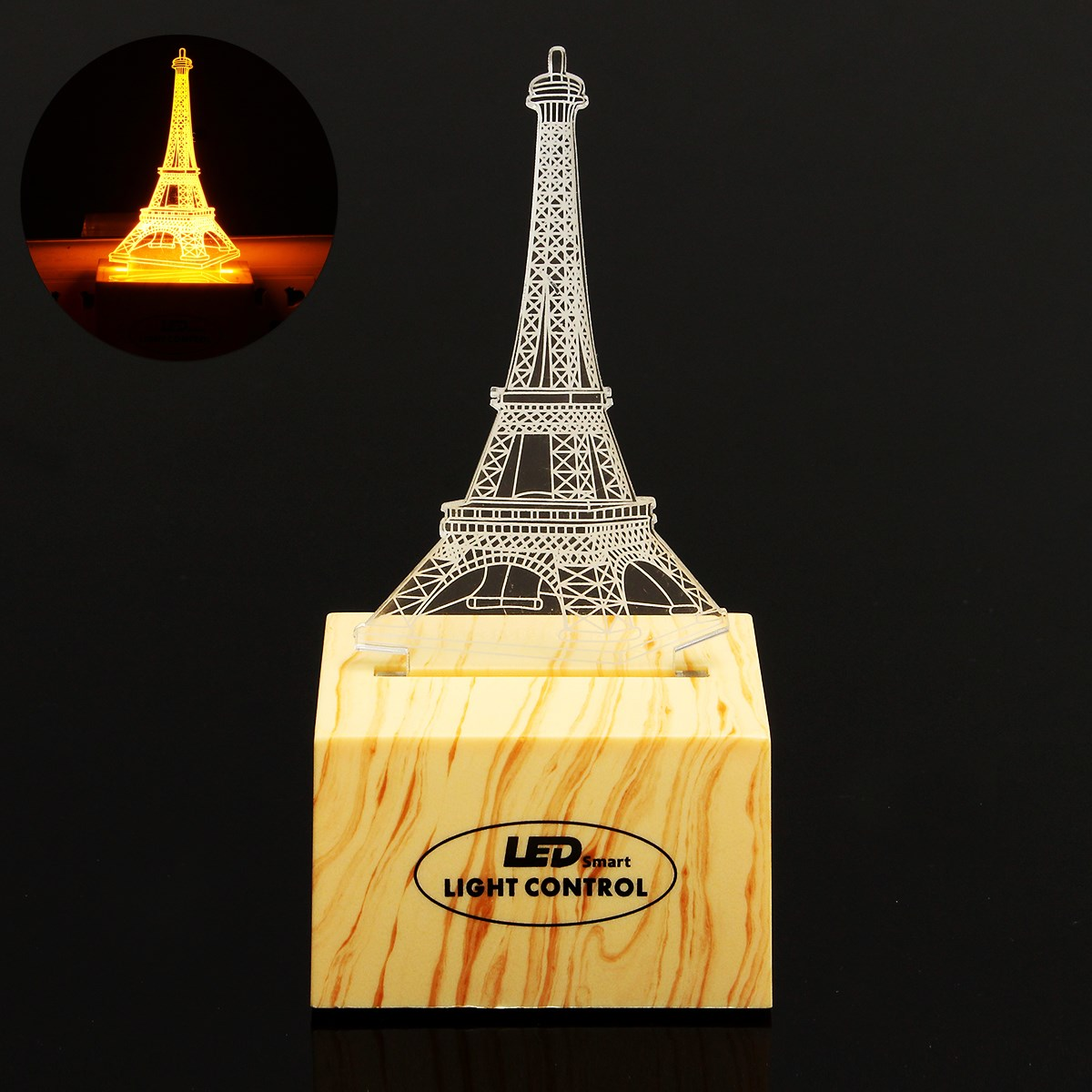 3D Eiffel Tower Induction Control Plug In LED Night Light Desk Table Lamp