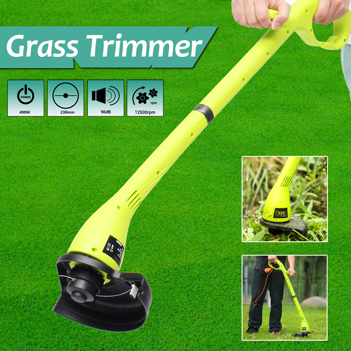 400W Electric Grass Trimmer Strimmer Cutter Lawnmower Heavy Duty Lawn Pruning Machine 230mm