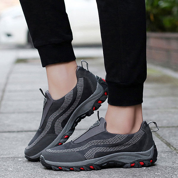 Men Comfy Suede Leather Wear Resistance Outsole Outdoor Slip On Sneakers