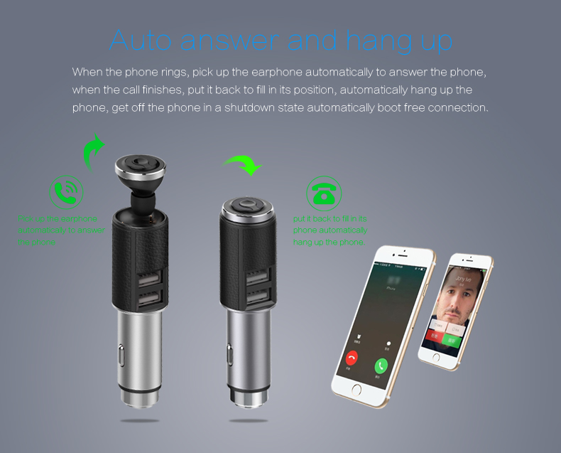 Mini Wireless bluetooth Earphone Car Charger Noise Cancelling Handsfree Headphone with Two USB Ports