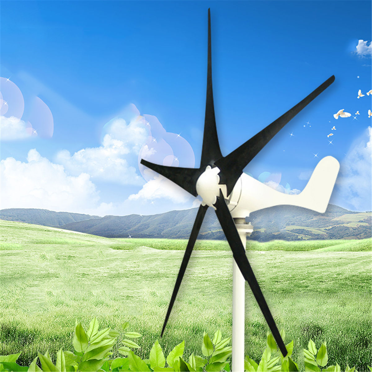 DC 12V/24V 100W 5 Blades Wind Turbine Wind Generator with Windmill Charge Controller