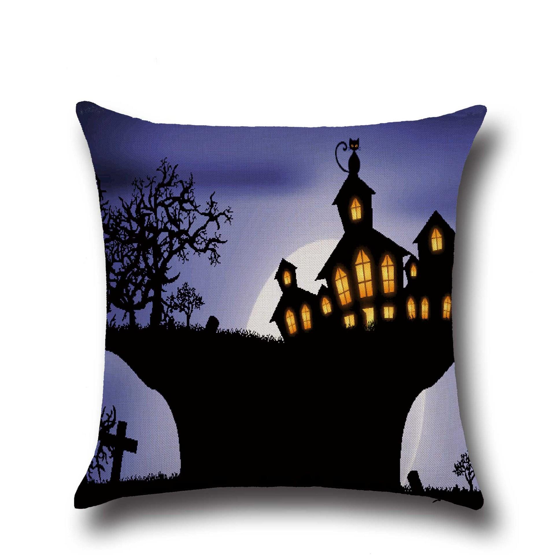 Halloween Pumpkin Bat Ghost Pattern Pillowcase Cotton Linen Throw Pillow Cushion Cover Seat Home Decoration Sofa Decor