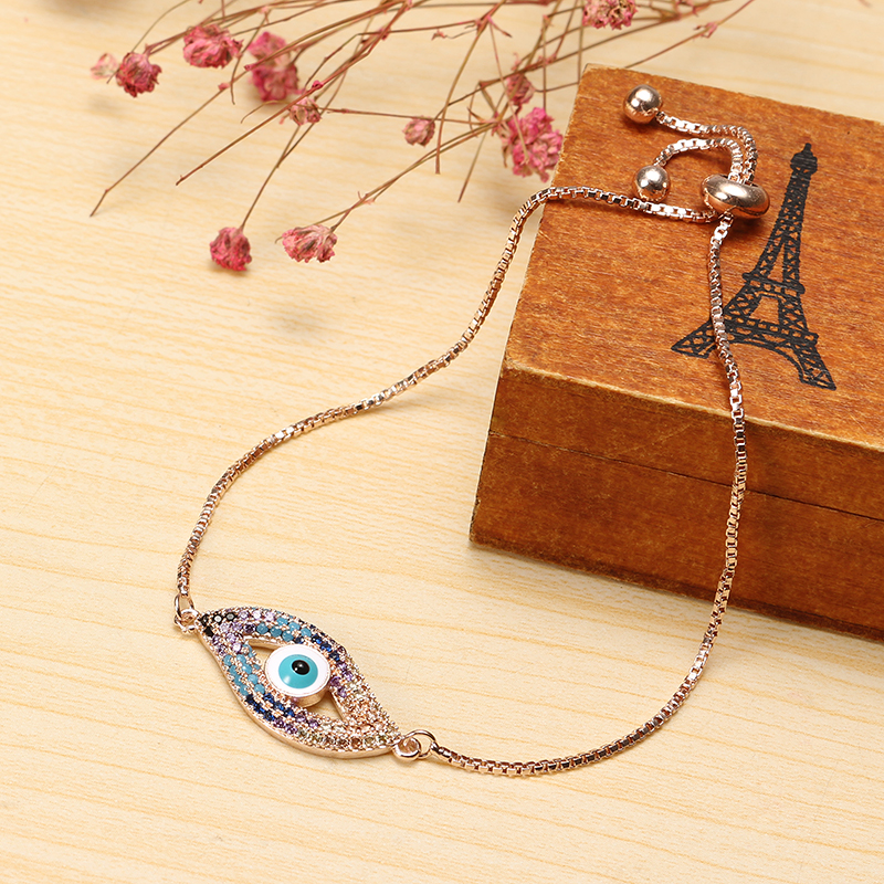 Trendy New Evil Eye Shape Adjustable Metal Zircon Bracelet Unisex Jewelry