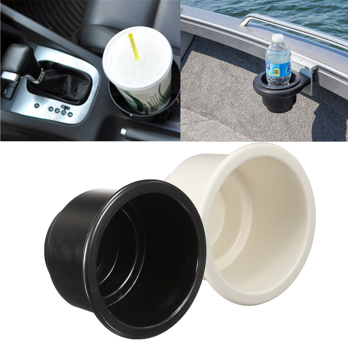 Plastic Marine Boat RV Car Cup Drink Can Water Bottle Holder with Water Drain