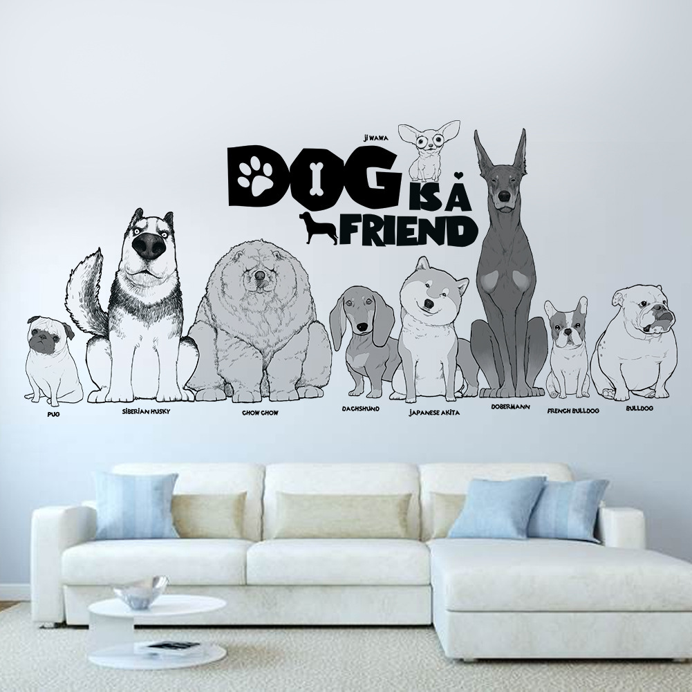 30*90 CM Cute Dogs Wall Stickers Background Wall Sticke