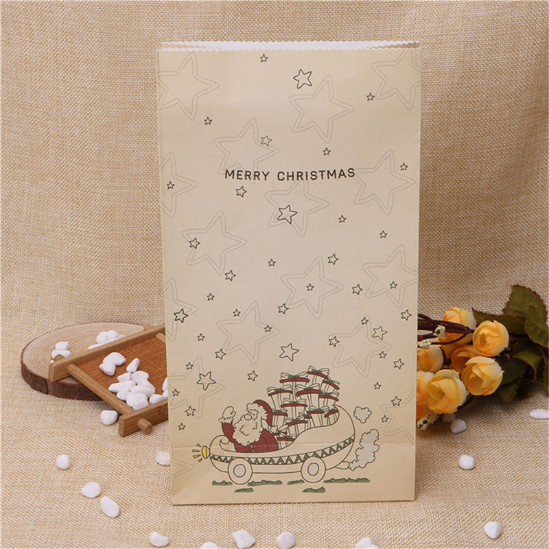 8PCS Kraft Christmas Party Home Decoration Cookies Present Luxury Wedding Gift Candy Bag Toys