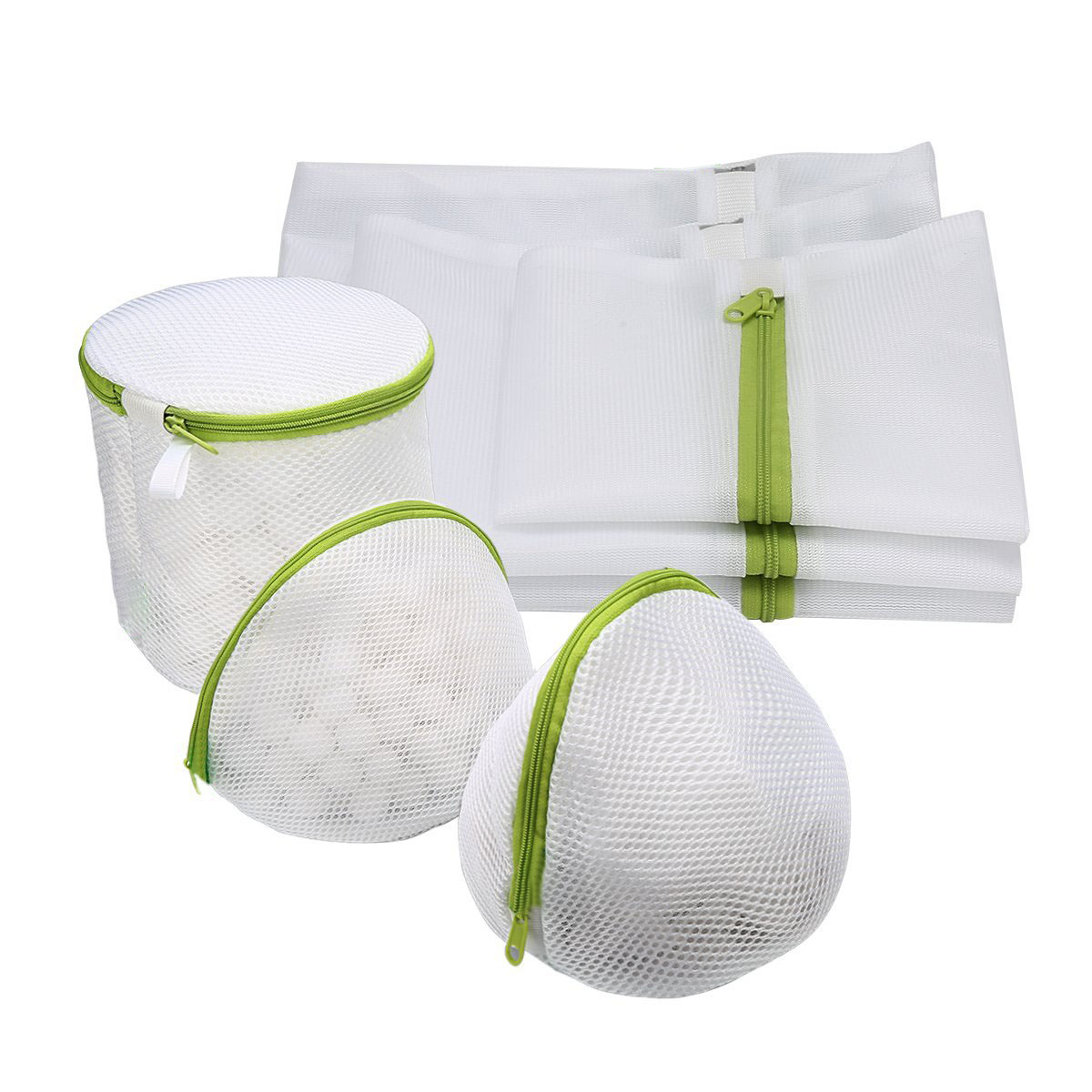 6Pcs Mesh Laundry Bags Set Washing Clothes Zipper Solid Net for Blouse Hosiery Stocking Underwear Bra and Lingerie Travel Laundry Bag