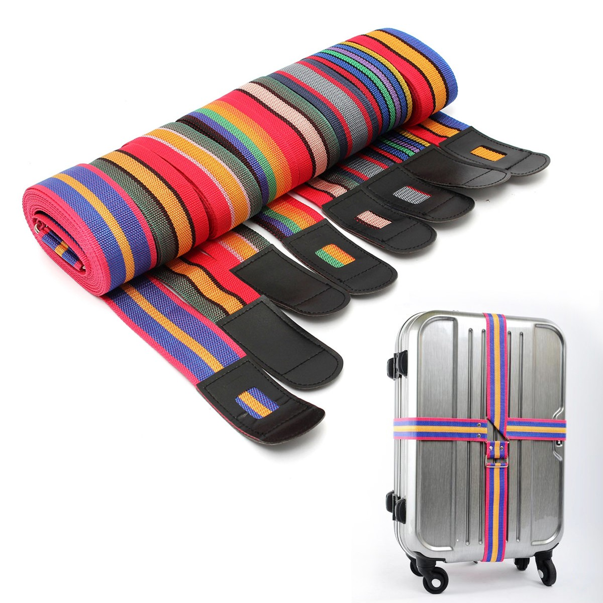 Adjustable Luggage Suitcase Cross Strap Travel Baggage Bag Belt Metal Clasp