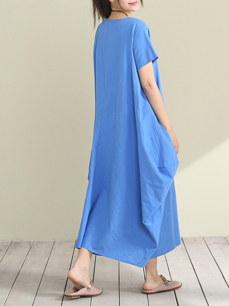 Casual Mori Girls Pure Color Short Sleeve Summer Baggy Dresses
