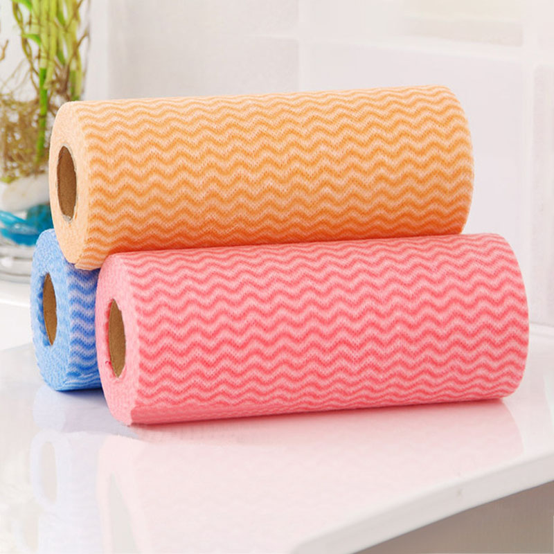 50pcs/Roll Non-woven Kitchen Cleaning Cloth Disposable Eco-friendly Rags Wiping Scouring Pad Dishcloth Kitchen Bathroom Washing Cloth