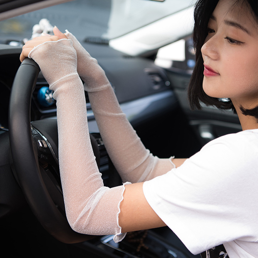 Women Outdoor Thin Lace Sunshade Ice Silk Arm Sleeves