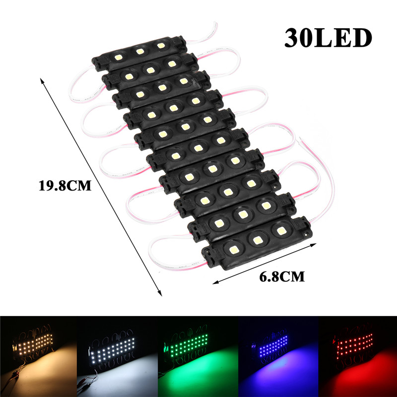 10PCS SMD5050 Waterproof 3LEDs Module Colorful Decorative Strip Light for Home DC12V