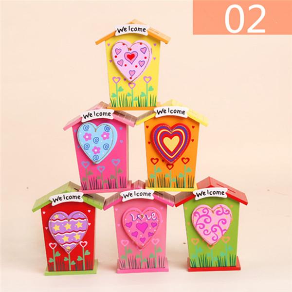 1pc Wooden Money Saving Little House Flower Love Heart Animal Box Gift Novelties Toys