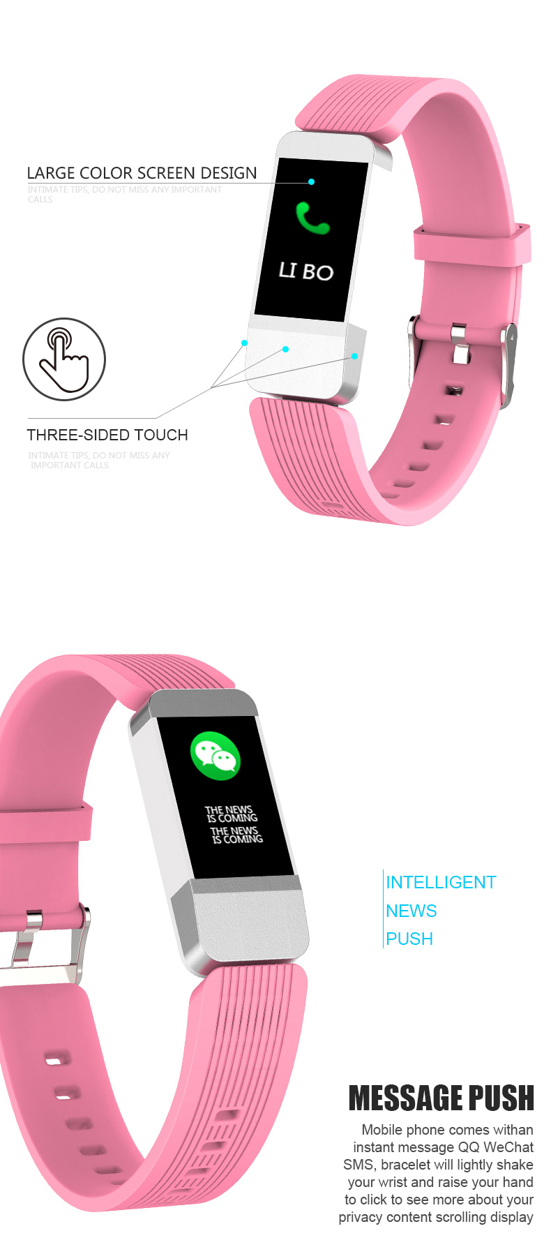 B1 UI Design Color Display Smart Bracelet HR Monitor