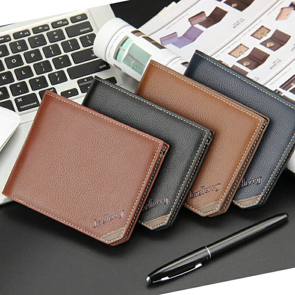 Men Business PU Casual Black Coffee Brown Khaki Wallet Money Bag