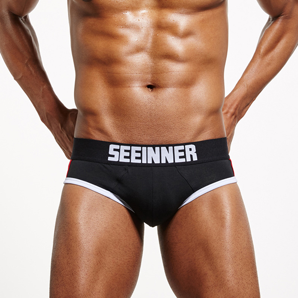 Mens Low Rise Widen Waistband Fashion U Convex Cotton Brief