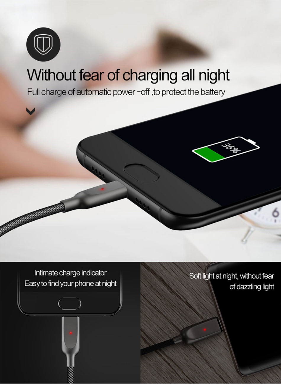 USAMS Auto disconnect Type-c Fast Charging Cable 1.2m For Oneplus 5 Xiaomi 6 Mi A1 Samsung S8 Note 8