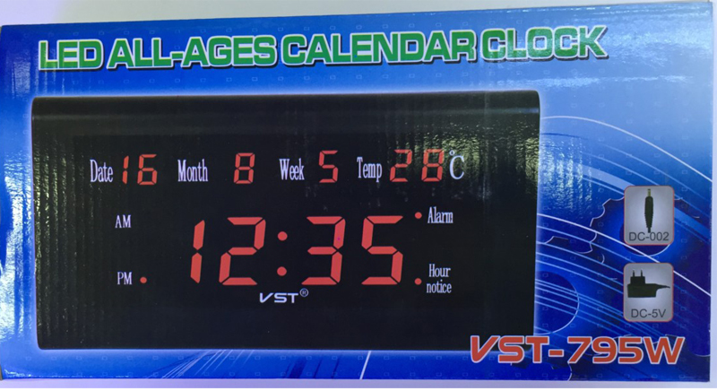 VST ST-5 12/24 Hours Desktop Clock Big Number Lcd Display Temperature Date Week Month Table Clock