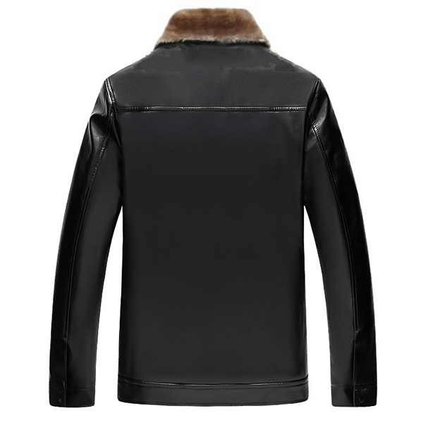Mens Faux Leather Lapel Collar Thick Velvet Winter Jacket