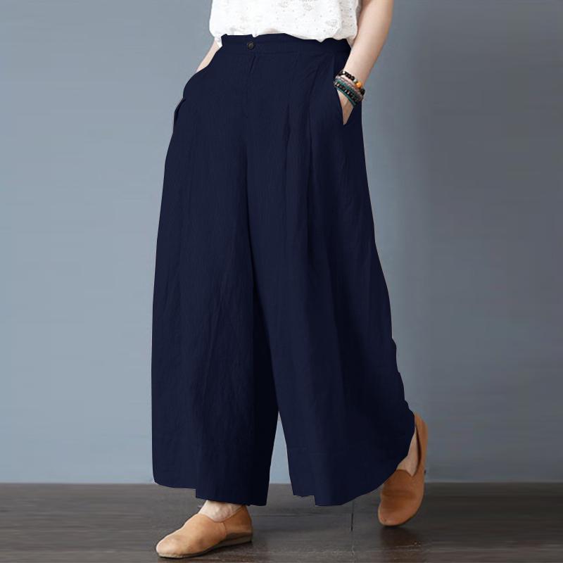 Chinese Style Women Button Linen Cotton Wide Leg Pant