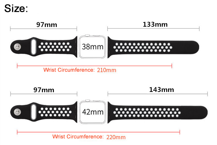 KALOAD 38/42mm Width Silicone iWatch Replacement Strap Band Breathable Belt For Apple Watch 1/2
