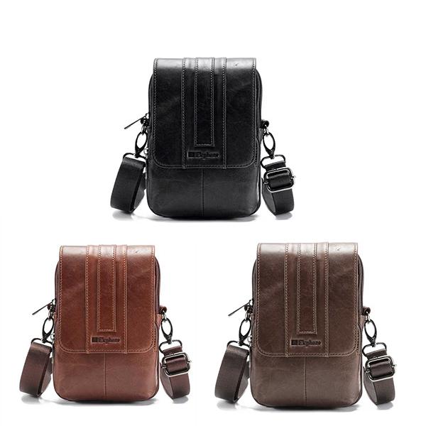 Epkhero Men Genuine Leather Multifunction Crossbody Bag